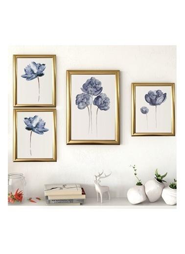 Lyn Home & Decor Lotus Seri Çerçeveli Poster 4 Lü Tablo 1 Adet 23,5X33,5 3 Adet 17,5X23,5 Altın